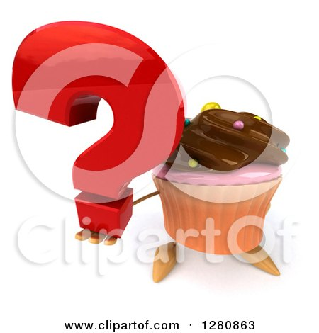 Clipart of a 3d Chocolate Frosted Cupcake Character Holding up a Question Mark - Royalty Free Illustration by Julos