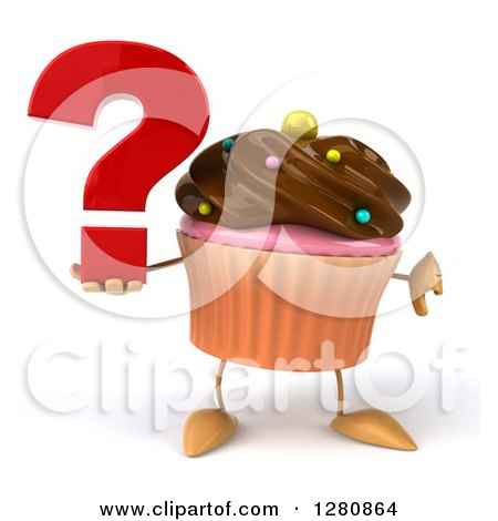 Clipart of a 3d Chocolate Frosted Cupcake Character Holding a Question Mark and Thumb down - Royalty Free Illustration by Julos