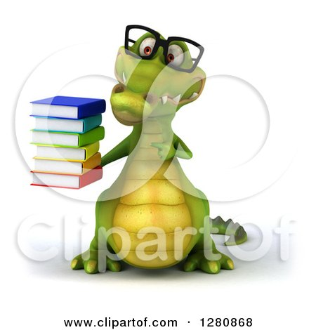 Clipart of a 3d Bespectacled Crocodile Holding and Pointing to a Stack of Books - Royalty Free Illustration by Julos