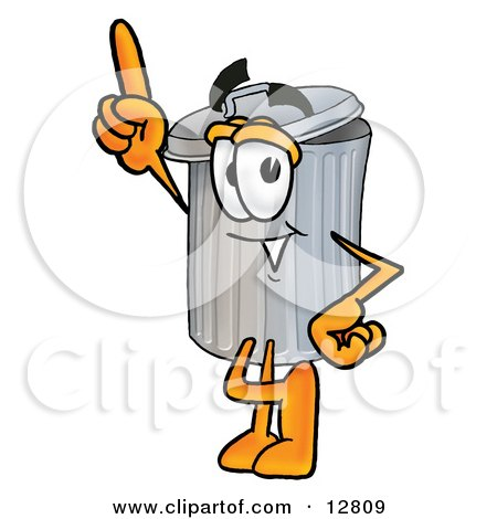 Clipart Picture of a Garbage Can Mascot Cartoon Character Pointing Upwards by Toons4Biz
