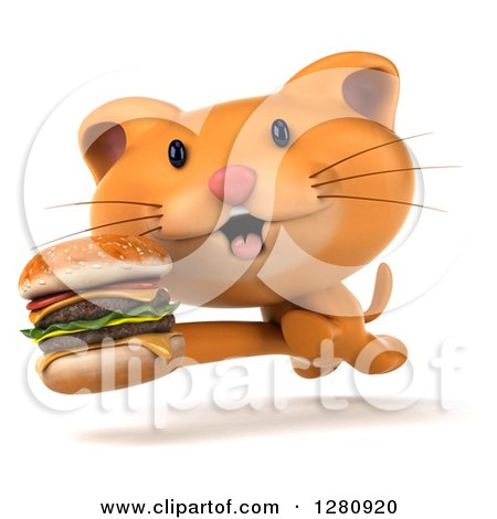 Clipart of a 3d Ginger Cat Running with a Double Cheeseburger - Royalty Free Illustration by Julos