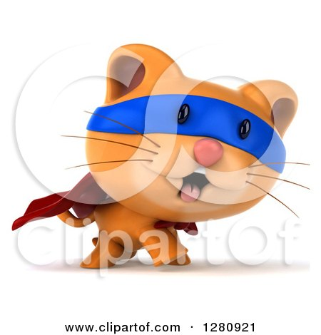 Clipart of a 3d Super Hero Ginger Cat Walking to the Right - Royalty Free Illustration by Julos