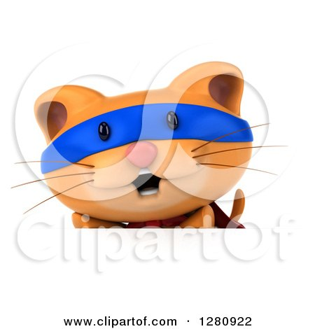 Clipart of a 3d Super Hero Ginger Cat over a Sign Board - Royalty Free Illustration by Julos