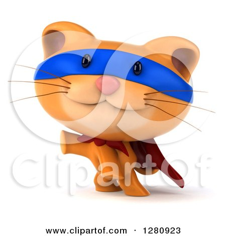 Clipart of a 3d Super Hero Ginger Cat Presenting - Royalty Free Illustration by Julos