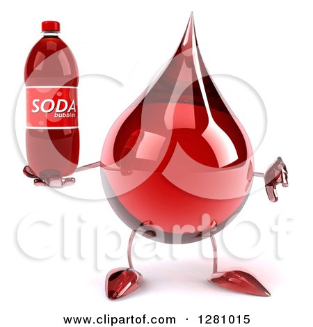 Clipart of a 3d Hot Water or Blood Drop Mascot Holding a Thumb down and a Soda Bottle - Royalty Free Illustration by Julos