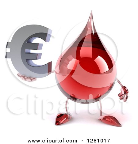 Clipart of a 3d Hot Water or Blood Drop Mascot Holding a Euro Symbol - Royalty Free Illustration by Julos