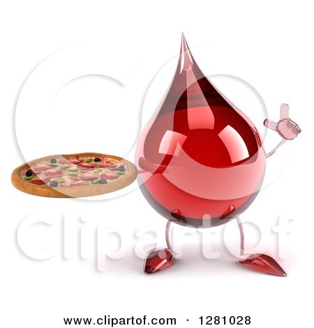 Clipart of a 3d Hot Water or Blood Drop Mascot Holding up a Finger and Pizza - Royalty Free Illustration by Julos