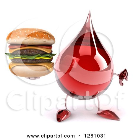 Clipart of a 3d Hot Water or Blood Drop Mascot Holding a Thumb down and Double Cheeseburger - Royalty Free Illustration by Julos