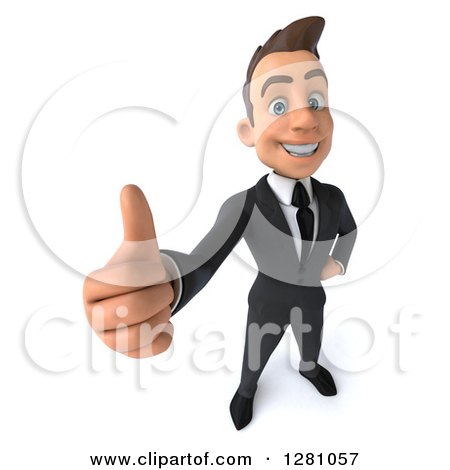 Clipart of a 3d Young Brunette Caucasian Businessman Holding a Thumb up - Royalty Free Illustration by Julos
