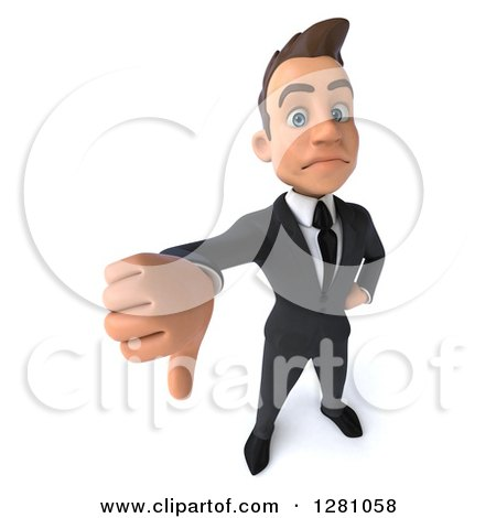Clipart of a 3d Young Brunette Caucasian Businessman Holding a Thumb down - Royalty Free Illustration by Julos