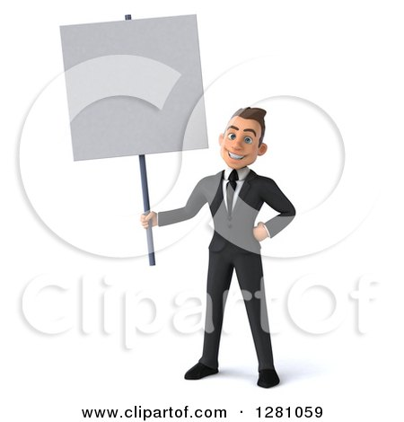 Clipart of a 3d Young Brunette Caucasian Businessman Holding a Blank Sign - Royalty Free Illustration by Julos