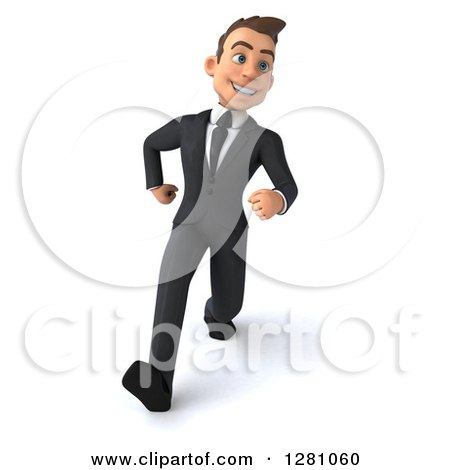 Clipart of a 3d Young Brunette Caucasian Businessman Running - Royalty Free Illustration by Julos