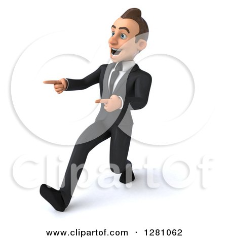 Clipart of a 3d Encouraging Young Brunette Caucasian Businessman Running and Pointing to the Left - Royalty Free Illustration by Julos