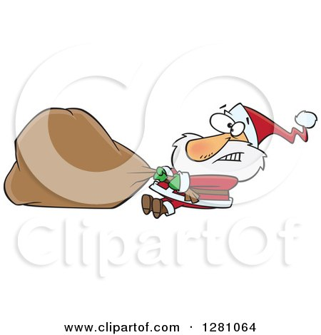 Clipart of a Struggling Santa Clause Pulling a Heavy Christmas Sack - Royalty Free Vector Illustration by toonaday
