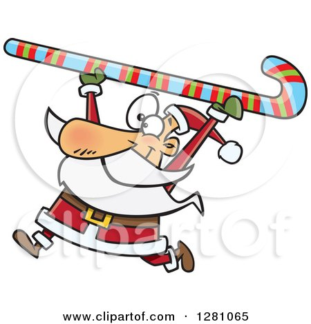 Clipart of a Happy Santa Clause Carrying a Giant Christmas Candy Cane over His Head - Royalty Free Vector Illustration by toonaday