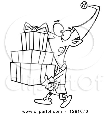 Cartoon Clipart of a Black and White Cartoon Happy Christmas Elf Carrying a Stack of Presents - Royalty Free Vector Illustration by toonaday