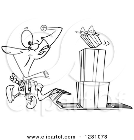 Cartoon Clipart of a Black and White Cartoon Happy Christmas Elf Pulling a Stack of Presents on a Sled - Royalty Free Vector Illustration by toonaday