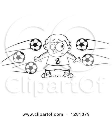 Cartoon Clipart of a Black and White Cartoon Nervous Goal Tender Boy with Soccer Balls Flying at Him - Royalty Free Vector Illustration by toonaday