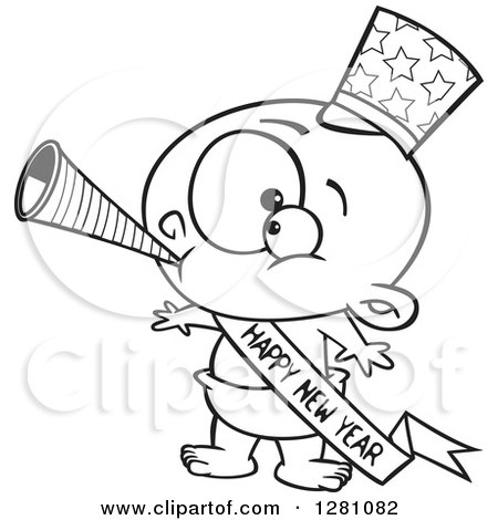 Cartoon Clipart of a Black and White Cartoon New Year Baby Blowing a Horn, Wearing a Top Hat and a Banner - Royalty Free Vector Illustration by toonaday