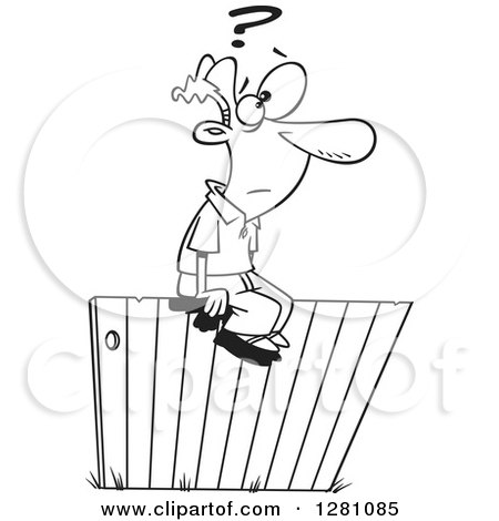 Cartoon Clipart of a Black and White Cartoon Man Sitting and Thinking Ont He Fence - Royalty Free Vector Illustration by toonaday