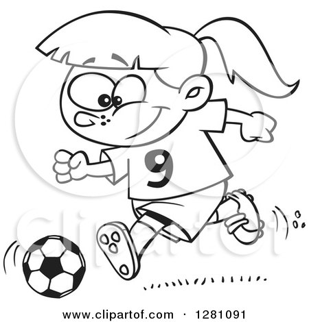 Cartoon Clipart of a Black and White Cartoon Happy Little Girl Playing Soccer - Royalty Free Vector Illustration by toonaday