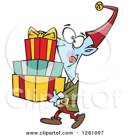 Cartoon Clipart of a Happy Christmas Elf Carrying a Stack of Presents - Royalty Free Vector Illustration by toonaday