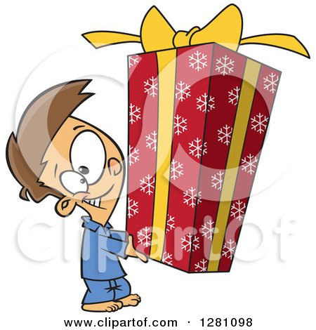 Cartoon Clipart of a Happy Brunette Caucasian Boy Holding a Big Christmas Gift - Royalty Free Vector Illustration by toonaday