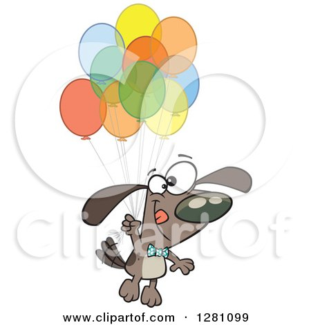 Cartoon Clipart of a Happy Brown Dog Floating with a Bunch of Party Balloons - Royalty Free Vector Illustration by toonaday