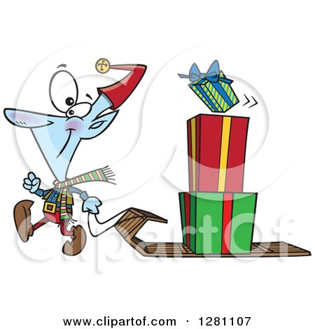 Cartoon Clipart of a Happy Christmas Elf Pulling a Stack of Presents on a Sled - Royalty Free Vector Illustration by toonaday