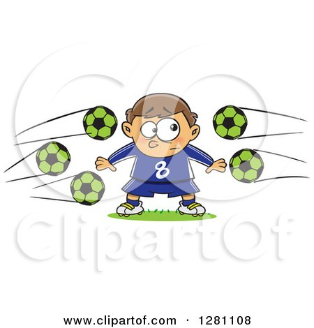Clipart of a Cartoon Chicken Playing Soccer - Royalty Free
