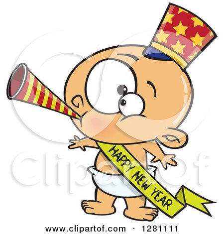 Cartoon Clipart of a Caucasian New Year Baby Blowing a Horn, Wearing a Top Hat and a Banner - Royalty Free Vector Illustration by toonaday