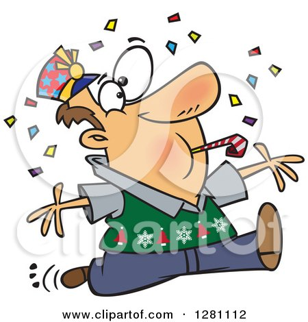 Cartoon Clipart of a Festive Brunette Caucasian Man Blowing a Noise Maker and Jumping in Confetti on New Years - Royalty Free Vector Illustration by toonaday