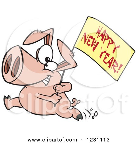 Cartoon Clipart of a Pig Running with a Happy New Year Sign - Royalty Free Vector Illustration by toonaday