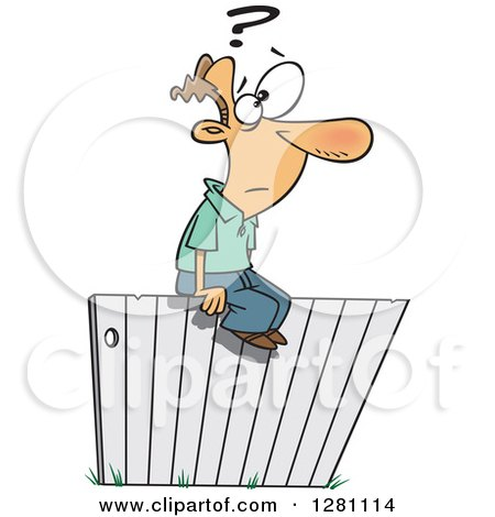 Cartoon Clipart of a Caucasian Man Sitting and Thinking Ont He Fence - Royalty Free Vector Illustration by toonaday