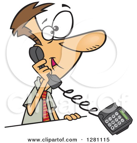 Cartoon Clipart of a Happy Caucasian Business Man Talking on a Landline Telephone - Royalty Free Vector Illustration by toonaday