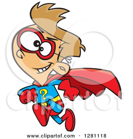 Cartoon Clipart of a Caucasian Question Super Hero Boy Running - Royalty Free Vector Illustration by toonaday