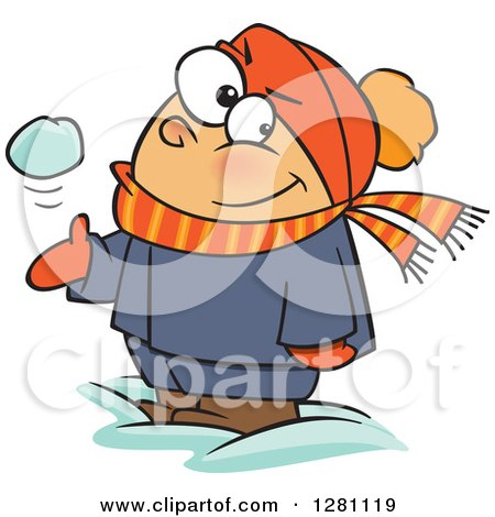 Cartoon Clipart of a Mischievous White Boy Tossing and Catching a Snowball - Royalty Free Vector Illustration by toonaday