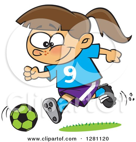 Cartoon Clipart of a Happy Brunette Caucasian Girl Playing Soccer - Royalty Free Vector Illustration by toonaday