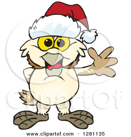 Clipart of a Friendly Waving Barn Owl Wearing a Christmas Santa Hat - Royalty Free Vector Illustration by Dennis Holmes Designs
