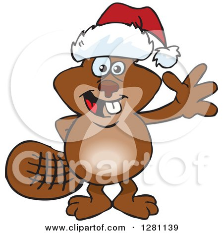 Clipart of a Friendly Waving Beaver Wearing a Christmas Santa Hat - Royalty Free Vector Illustration by Dennis Holmes Designs