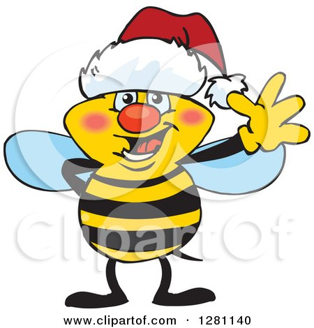 Clipart of a Friendly Waving Bee Wearing a Christmas Santa Hat - Royalty Free Vector Illustration by Dennis Holmes Designs