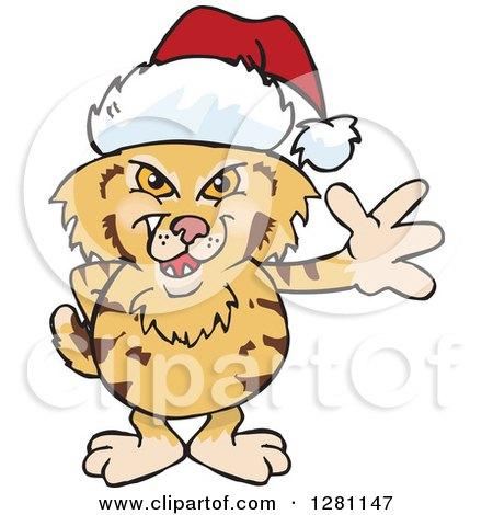 Clipart of a Friendly Waving Bobcat Wearing a Christmas Santa Hat - Royalty Free Vector Illustration by Dennis Holmes Designs