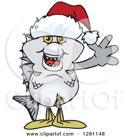 Clipart of a Friendly Waving Bream Fish Wearing a Christmas Santa Hat - Royalty Free Vector Illustration by Dennis Holmes Designs