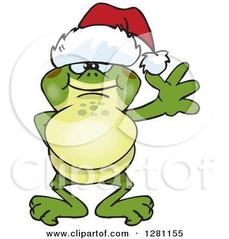 Clipart of a Friendly Waving Bullfrog Wearing a Christmas Santa Hat - Royalty Free Vector Illustration by Dennis Holmes Designs