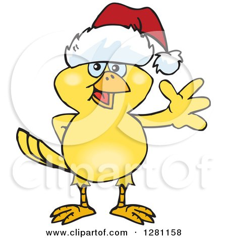 Clipart of a Friendly Waving Yellow Canary Bird Wearing a Christmas Santa Hat - Royalty Free Vector Illustration by Dennis Holmes Designs