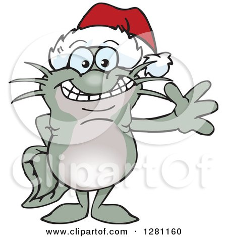 Clipart of a Friendly Waving Catfish Wearing a Christmas Santa Hat - Royalty Free Vector Illustration by Dennis Holmes Designs