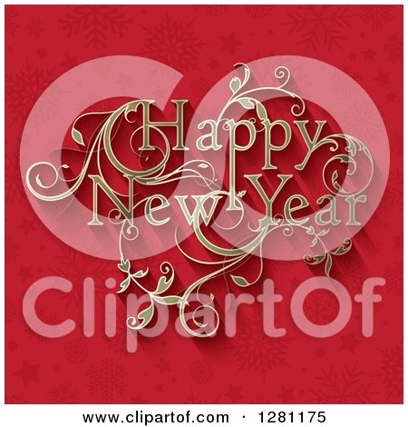 Clipart of a Floral Ornate Golden Happy New Year Greeting over Red Snowflakes and Stars - Royalty Free Vector Illustration by KJ Pargeter