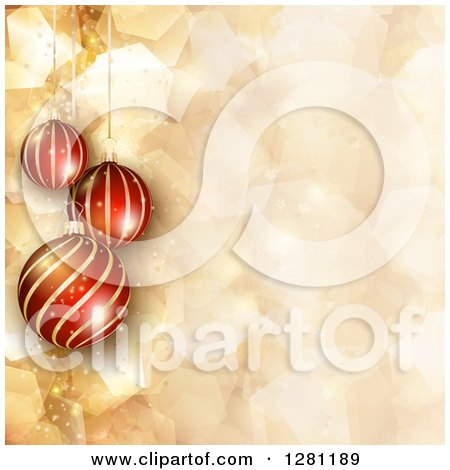 Clipart of 3d Suspended Striped Christmas Baubles over Gold Geometric, Flares and Sparkles - Royalty Free Vector Illustration by KJ Pargeter