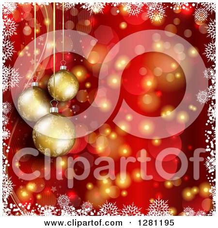 Clipart of 3d Gold Christmas Baubles Suspended over Red and Gold Bokeh Flares and Stars with a Border of White Snowflakes - Royalty Free Vector Illustration by KJ Pargeter