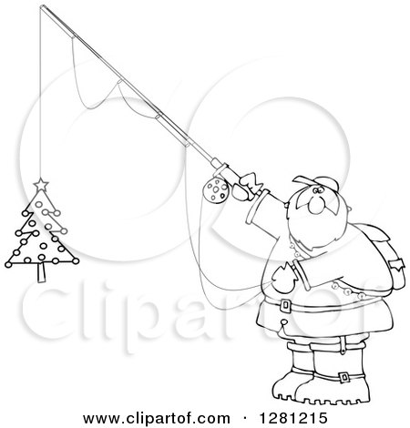Cartoon Clipart of a Black and White Chubby Santa Holding a Christmas Tree on a Fishing Hook - Royalty Free Vector Illustration by djart